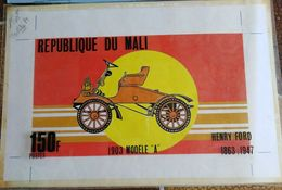 MAQUETTE TIMBRE DU MALI 1987 - VOITURE FORD A 1903 - MODEL STAMPED DRAWING PROOF - Voitures