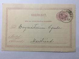 SWEDEN 1882 Pre-paid Postcard Stromstad To Marstrand - Cartas