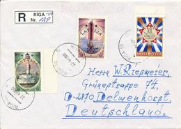 RIGA / LATVIJA  -  1993 Überdruck Auf Marken Von Sowjetunion -  R-Brief Nach Delmenhorst / DE - Letonia
