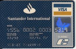 GERMANY - Santander International Bank(reverse Datecard), Classic Visa, 11/91, Used - Cartes De Crédit (expiration Min. 10 Ans)