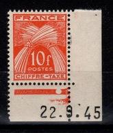 Taxe Gerbe YV 76 N** Petit Coin Daté Cote 4 Euros - 1859-1955 Neufs