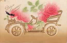 CPA Fantaisie Gaufrée - Fleurs - Rose - Automobile - Fleurs