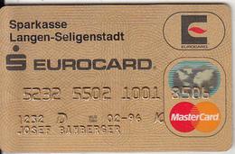 GERMANY - Eurocard, Sparkasse Langen-Seligenstadt Bank(reverse ICA), Gold Master Card, 08/93, Used - Tarjetas De Crédito (caducidad Min 10 Años)
