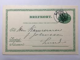 SWEDEN 1899 Pre-paid Postcard Lund Internal Fem Ore Rate - Storia Postale