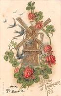 CPA Fantaisie Gaufrée - Bonne Et Heureuse Fête - Moulin - Fleurs - Hirondelles - Fêtes - Voeux
