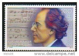 """Österreich 2010:  """"Gustav Mahler""""  Postfrisch - 1945-.... 2ème République"""