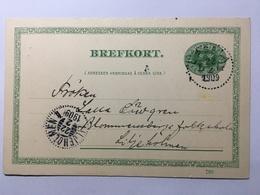 SWEDEN 1909 Pre-paid Postcard Upsala To Liljeholmen Fem Ore Rate - Briefe U. Dokumente