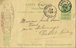 Entier Postal Posté à Couillet En 1909 Vers Chatelineau Exp. Charbonnage De Boubier à Châtelet - Enteros Postales