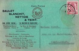 Carte Postale Avec Publicité Circulée En 1946 Baulet Blanchit-Nettoie-et Teint à Wanfercée-Baulet - Fleurus
