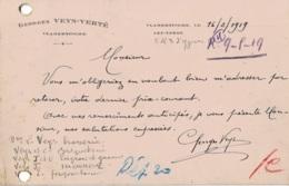 Carte Postale Avec Publicité Circulée En 1919 Georges Veys-Verté Vlamertinghe-lez-Ypres - Ieper