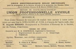 Carte Postale Avec Publicité Circulée En 1909 Ligue Ornithologique Belge Bruxelles Section De Châtelineau-Châtelet - Châtelet