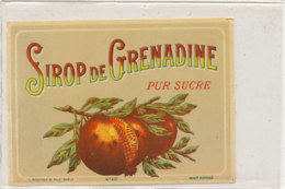 AN 788  / ETIQUETTE - SIROP DE GRENADINE  PUR SUCRE   N° 407 - Fruits Et Légumes