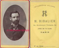 CDV Par Le Rare Photographe H. Ribalier (près Du Bataclan) à Paris 54 Bld Voltaire-beau Portrait D'homme - Anciennes (Av. 1900)