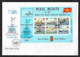 1980 ISLE OF MAN LONDON INTERNATIONAL STAMP EXHIBITION MAIL BOATS - Isola Di Man