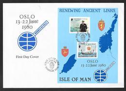 1980 ISLE OF MAN OSLO RENEWING ANCIENT LINKS FDC - Isola Di Man