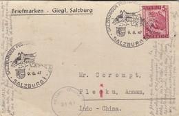 CARTE AUTRICHE. 9 8 47 POUR PLEI-KU ANNAM INDOCHINE. CACHET MILITARY CENSOR - Postmark Collection (Covers)
