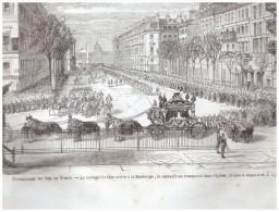 2  Gravure De  1865  ...funerailles  De Duc De Morny    Le Cortege   à La Madeleine Paris - Unclassified