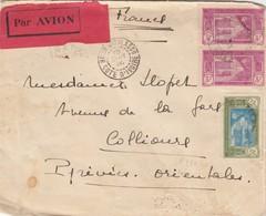 LETTRE COTE D'IVOIRE. PAR AVION. 1936. 6,50Fr. BOBO-DIOULASSO POUR COLLIOURES - Brieven En Documenten