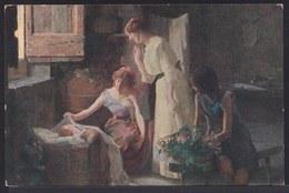VIEILLE CPA ARTISTE - TABLEAU - PEINTURE - ART * FACHINETTI - VISITA MATERNA * PGCG 667 - VISITE DE LA MERE - Mother - Pittura & Quadri