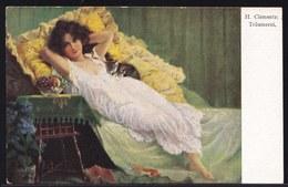 VIEILLE CPA ARTISTE - TABLEAU - PEINTURE - ART * H. CLEMENTZ - TRAUMEREI * - Rêverie - Dream - Girl - Pittura & Quadri