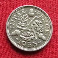 Great Britain 3 Three Pence 1933 KM# 831 Silver  Reino Unido  Inglaterra Gran Bretana United Kingdom Grande Bretagne - Grossbritannien