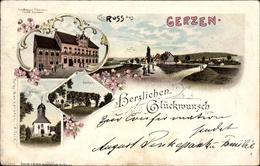 Lithographie Gerzen Alfeld An Der Leine, Gasthaus Zur Erholung, Inh. Engeldrecht, Kirche, Garten - Allemagne