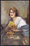 VIEILLE CPA ARTISTE - TABLEAU - PEINTURE - ART * C. WEBER - FILLE AVEC FLEURS * Girl - Flower - Pittura & Quadri
