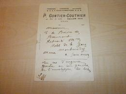 Ancienne Document P.GONTIER-COUTHIER   HALLUIN Fromages Conserves Et Salaisons - Lebensmittel
