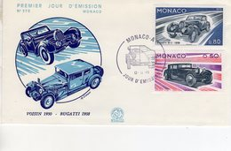 Monaco Envelope Premier Jour D'Emission - Bugatti 57C - Voisin V12  -  Envelope 1er Jour 2v - Automobili