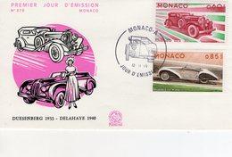Monaco Envelope Premier Jour D'Emission -  Duesenberg - Delahaye 135M  -  Envelope 1er Jour 2v - Automobili