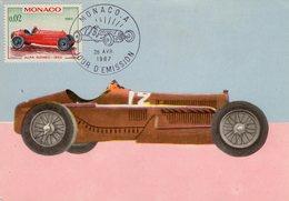 Monaco Carte Maximum - Voitures De Courses - Alfa Romeo 1932 - Carte Premier Jour D'Emission - Voitures