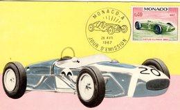 Monaco Carte Maximum - Voitures De Courses - Lotus-Climax 1960 - Carte Premier Jour D'Emission - Voitures