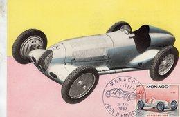 Monaco Carte Maximum - Voitures De Courses - Mercedes-Benz 1936 - Carte Premier Jour D'Emission - Voitures