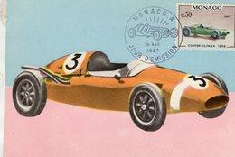 Monaco Carte Maximum - Voitures De Courses - Cooper-Climax 1958  - Carte Premier Jour D'Emission - Voitures