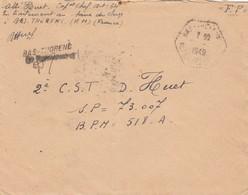 LETTRE. FP. 24 8 49. CAPORAL-CHEF EN TRAITEMENT AU SAVA DU CLERGÉ A BAS-THORENC (A.M.), POUR ARMEE D'ORIENT 518-A - Marcophilie (Lettres)