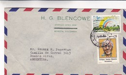 COLOMBIA AIRMAIL CIRCULATED 1980's. BOGOTA TO BUENOS AIRES, ARGENTINA.  -LILHU - Colombia