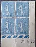 R1189/482 - 1930 - TYPE SEMEUSE FOND LIGNEE - BLOC - N°205 TIMBRES NEUFS** CdF Avec Date - 1930-1939