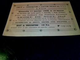 Carte De Coordination Et D Action Sociale Des PTT Arbre De Noël 1947 - Mappe