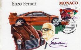 Monaco Carte Maximum -  Enzo Ferrari (1898-1988)  - Carte Premier Jour D'Emission - Automobili