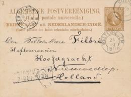 Nederlands Indië - 1888 - 7,5 Cent Willem III, Briefkaart G7 Van Soerabaja - Via Brindisi Naar Nieuwediep / Nederland - Niederländisch-Indien