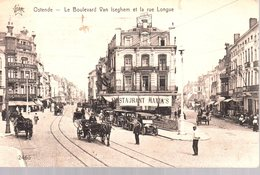OSTENDE  -  Le Boulevard Van Iseghem Et La Rue Longue  -  Belle Animation  -  Restaurant Maxim's - Oostende