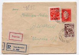 1951 YUGOSLAVIA,SLOVENIA,GOZD MARTULJEK TO BELGRADE,TPO 71 GORICA-LJUBLJANA &TPO 3,REGISTERED,EXPRESS STATIONERY COVER - Postal Stationery
