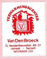 Sticker - Verwarmingscenter - Van Den Broeck - G. Vandenheuvelstraat Ramsel Herselt - Stickers