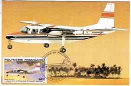 Polynesie Francaise -  Carte Maximum -  Britten Norman Islander  - Carte Premier Jour D'Emission - Aerei