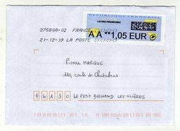 Enveloppe FRANCE Avec Vignette D' Affranchissement Prioritaire Oblitération LA POSTE 37580A-02 21/12/2019 - 2000 «Avions En Papier»