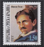Croatia 1996 Serbian Krajina Nikola Tesla Scientist Inventor Sciences Physics Electricity Famous People USA, MNH - Croatie