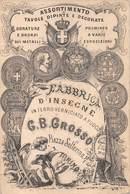 """08856 """"FABBRICA D'INSEGNE IN FERRO VERNICIATE A FUOCO - G. B. GROSSO - PIAZZA SOLFERINO TORINO"""" CARTONCINO VISITA ORIG. - Tarjetas De Visita"""