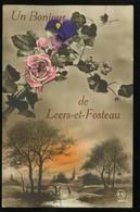 Un Bonjour De Leers Et Fosteau Carte Fantaisie Fleurs 1921 Lere - Autres