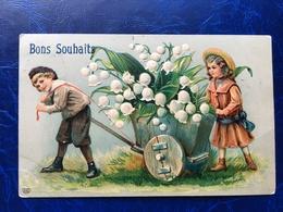 """Embossed-Gaufrée--""""enfants-charette-Cloches De Mai Géants""""-(my Ref 527)-1907 - Scene & Paesaggi"""