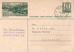 "PK 182  ""Beatenberg""  (Pension Alpenblick, Zeneggen)        1961 - Stamped Stationery"